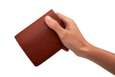 Hand and wallet. Isolated on white background Stock Photography