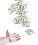 The hand want to catch falling money Royalty Free Stock Photography