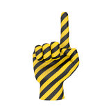 Hand warning sign. Hand warning caution attention sign icon (creative design element). Yellow black hand with pointer finger as symbol of alarm, danger notice Royalty Free Stock Images