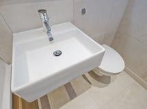 Hand wash basin. Modern rectangular shaped ceramic hand wash basin Stock Image