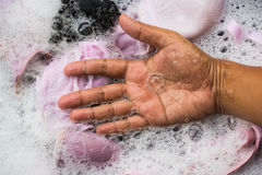 Hand wash close-up. Stock Photo