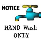 Hand wash only. Colorful background with blue faucet and the text hand wash only written with capital letters vector illustration