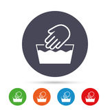 Hand wash sign icon. Not machine washable symbol. Round colourful buttons with flat icons. Vector vector illustration