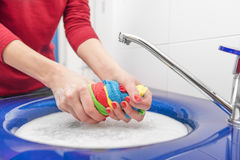 Hand wash with. Hand wash with the sink a bathroom Royalty Free Stock Photography