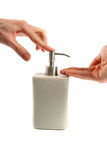 Hand washing: applying liquid soap Stock Photo