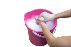 Hand washing clothes in the basin. Royalty Free Stock Images