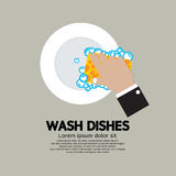 Hand Washing Dishes With Sponge Royalty Free Stock Photo