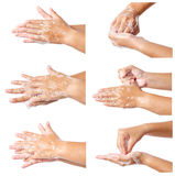 Hand washing medical procedure step by step. stock image