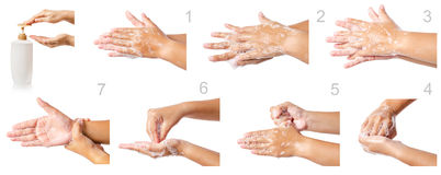 Hand washing medical procedure step by step. royalty free stock image