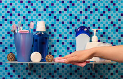Hand washing shelf Stock Photography
