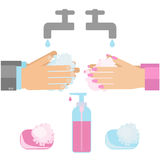 Hand washing with soap. Vector illustratuion of sanitary habit handwashing Royalty Free Stock Photography