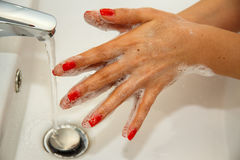 Hand Washing. Wash hands with warm water Stock Images