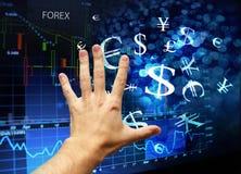 Hand wat betreft forex interface Stock Foto's