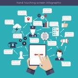 Hand wat betreft het Scherm Infographics Stock Foto's