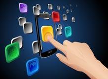 Hand wat betreft mobiel wolkenapp pictogram Royalty-vrije Stock Foto