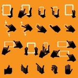 Hand wat betreft Mobiele Telefoon en Digitale Tablet, vector Stock Fotografie