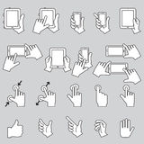 Hand wat betreft Mobiele Telefoon en Digitale Tablet, vectoreps10 Royalty-vrije Stock Fotografie