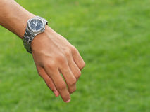 Hand with watch Royalty Free Stock Image
