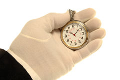 Hand & Watch. White Gloved Hand Holding Pocket Watch royalty free stock images