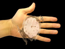 Hand with a watch showing flowing-away time Royalty Free Stock Photography