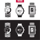Hand watches. Isolated vector set Stock Images