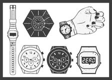 Hand watches vector set. Electronic and classic Royalty Free Stock Image