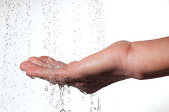 Hand and water. Water splash and human hand Stock Images