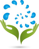 Hand and water droplets, wellness and spa logo. Hand and water droplets, colored, wellness and spa logo Stock Photos