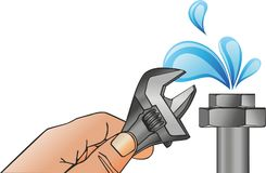 Hand with water spanner royalty free illustration