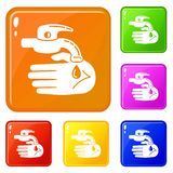 Hand water tap icons set vector color vector illustration
