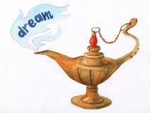 Hand watercolor illustration of magical Aladdin's genie lamp. Stock Photo