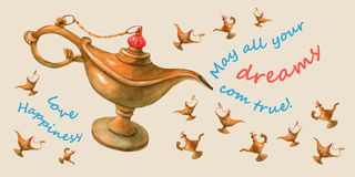 Hand watercolor illustration of magical Aladdin's genie lamp. Pale yellow background, Postcard. Royalty Free Stock Photo