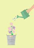 Hand watering flower in pot. Flat style design Royalty Free Stock Photos