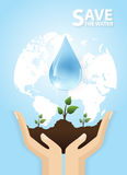 Hand watering tree.Concept of environmental protection Stock Photography