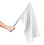 Hand waving a white flag. Isolated on white background Stock Photo