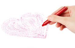 Hand with wax crayon Royalty Free Stock Images
