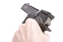 Hand with Weapon. Shooting from Atheletic Pneumatic Gun, Hand with Weapon, Part of Body Royalty Free Stock Photos
