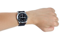 A hand wearing a black wrist watch Royalty Free Stock Photography