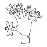 Hand wearing finger puppets icon. Hand wearing finger puppets, butterflies, ladybug icon in outline style on a white background Stock Photo