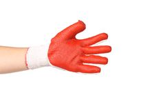 Hand wearing new protective gloves Stock Photography