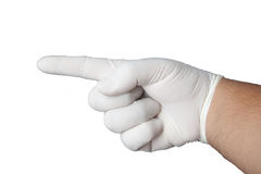 Hand wearing rubber glove Royalty Free Stock Photography