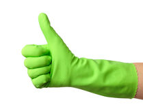 Hand wearing rubber glove shows thumb up sign Royalty Free Stock Image
