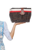 Hand with weave wicker basket bag Royalty Free Stock Photos