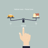 Hand and Weighing machine.Selection of Vehicle loan and Home loa. N concept.Real Estate and transport concept.Human hand with small car sign and house icon.Smart Royalty Free Stock Image