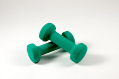 Hand Weights. A small set of hand weights used for Aerobics or Pilates Stock Images