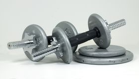 Hand Weights. Set of dumbells ready for lifting Stock Image