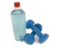Hand Weights and Power Drink Royalty Free Stock Photography