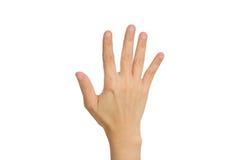 Hand, welche die fünf Finger zeigt Lizenzfreie Stockfotos
