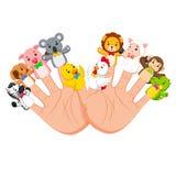 Hand, welche die Tiermarionette mit 10 Fingern trägt, das wirklich lustig sind vektor abbildung