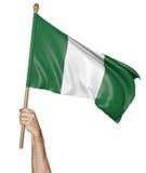 Hand, welche stolz die Staatsflagge von Nigeria wellenartig bewegt stockbilder